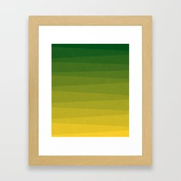 Shades of Grass - Line Gradient Pattern between Lime Green and Bright Yellow Framed Art Print