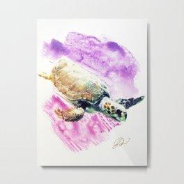 Sea Turtle in Pink and Purple Metal Print