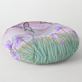 swallowtails, snails, & irises at sunrise Floor Pillow