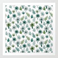 Tropical palm leaves minimal summer pattern print design by andrea lauren Art Print