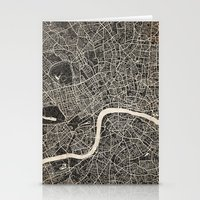 london map Stationery Cards featuring London map by NJ-Illustrations