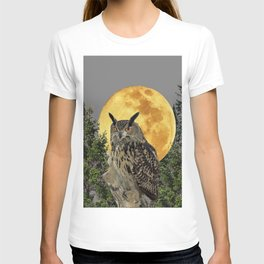GREY WILDERNESS OWL WITH FULL MOON & PINE TREES T-shirt