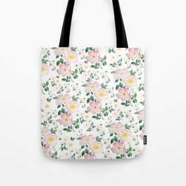 pink and white rose pattern Tote Bag