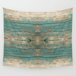 Weathered Rustic Wood - Weathered Wooden Plank - Beautiful knotty wood weathered turquoise paint Wall Tapestry
