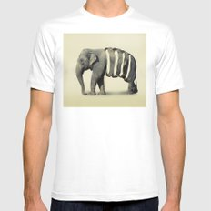 Ribbon Elephant White Mens Fitted Tee MEDIUM