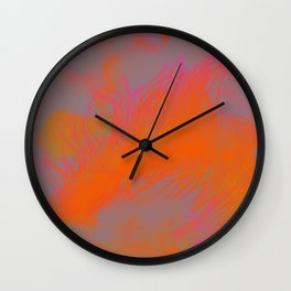 abstract orange I pattern Wall Clock