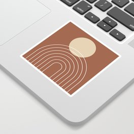 Mid Century Modern Geometric 3 (Terrocatta and beige) Sticker