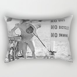 Girl ... It's Just Going to be One of Those Days black and white beach photograph Rectangular Pillow