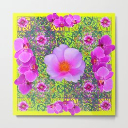 Yellow Pattern Pink Roses & Purple Orchids Abstract Metal Print