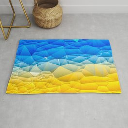 Sunshine and Blue Sky Quilted Abstract Rug