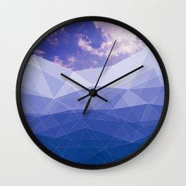 Mountains poligonal and the sky Wall Clock