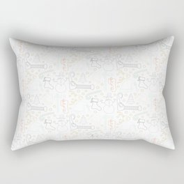 Christmas Doodles (Grey, Blue and Gold) Rectangular Pillow
