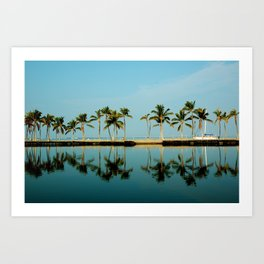 Waikoloa Beach Hawaii.. Morning Palm Reflection Art Print