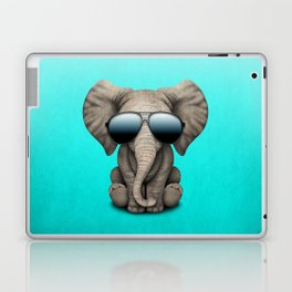 Cute Baby Elephant Wearing Sunglasses Laptop & iPad Skin