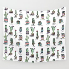 Cactus and Succulent Pattern Wall Tapestry
