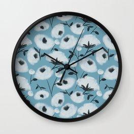 Cotton Flowers on Blue Pattern Wall Clock