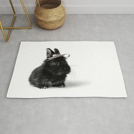 Black Bunny/Rabbit with Hair Bow, Easter Bunny, Easter Rabbit, Happy Easter Rug