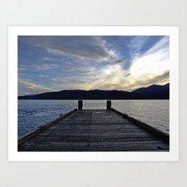 Pier at Lake Te Anau, New Zealand Art Print