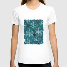 Snowflake Crystals in Turquoise T-shirt
