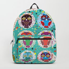 funny colored owls on a turquoise background Backpack