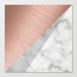 Rose Gold and Marble Canvas Print