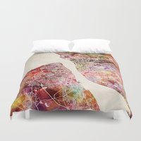 liverpool Duvet Covers featuring Liverpool by MapMapMaps.Watercolors