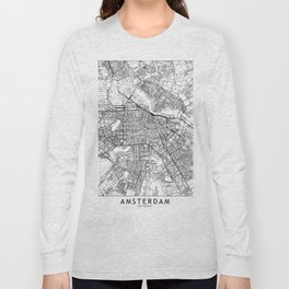 Amsterdam White Map Long Sleeve T-shirt