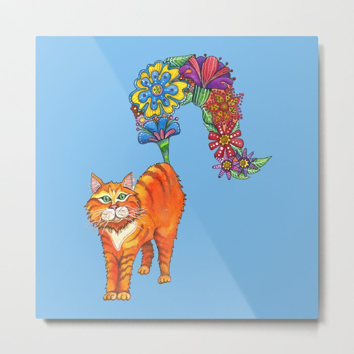 Classy Cat Chloe (Blue) Metal Print