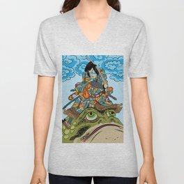 Drawing from Japanese Art by Utagawa Toyokuni Unisex V-Neck
