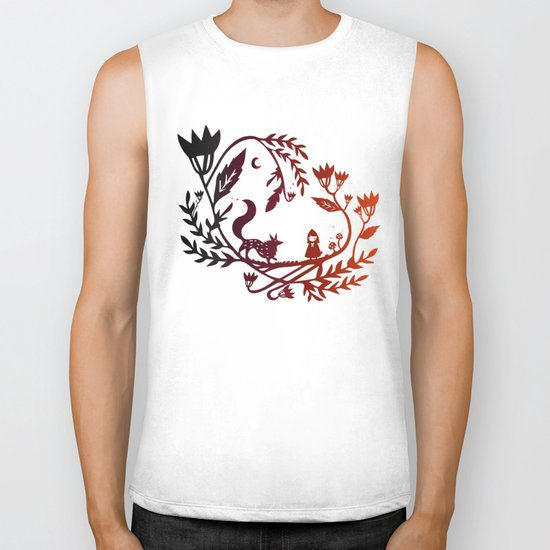Red and wolf Biker Tank
