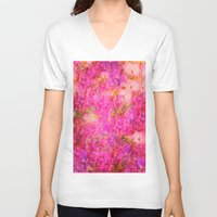 shabby chic V-neck T-shirts featuring Pink and Red Vintages Roses So Shabby Chic by Saundra Myles