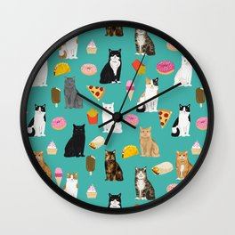 Cat breeds junk foods ice cream pizza tacos donuts purritos feline fans gifts Wall Clock
