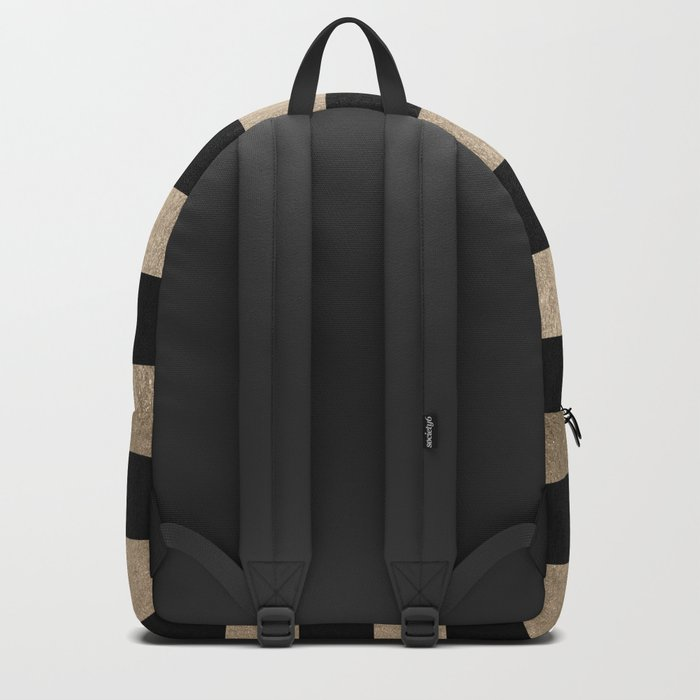 Simply Striped White Gold Sands on Midnight Black Backpack