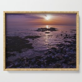 purple beach sunset Serving Tray