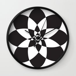Atomic Flower Black and White Wall Clock