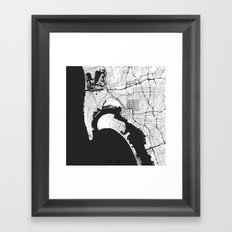 San Diego Map Gray Framed Art Print