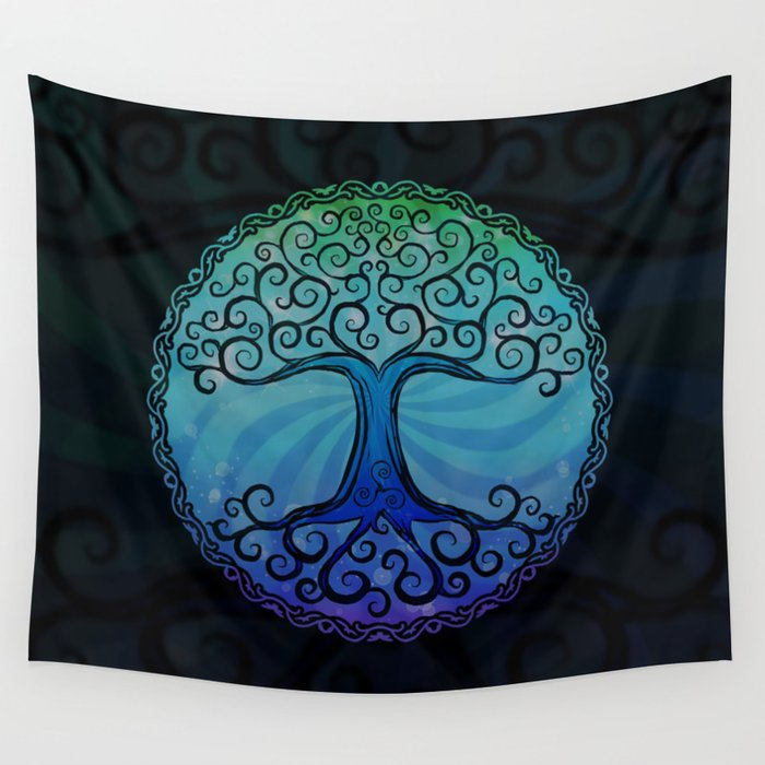 Tree of Life - Cool Blue Wall Tapestry
