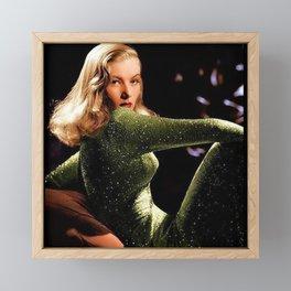 Classic Veronica Lake Portrait in Green - Jeanpaul Ferro Framed Mini Art Print