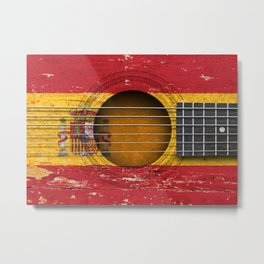 Old Vintage Acoustic Guitar with Spanish Flag Metal Print