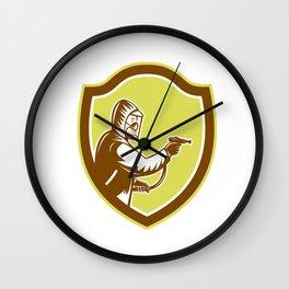 Pest Control Exterminator Spraying Shield Retro Wall Clock