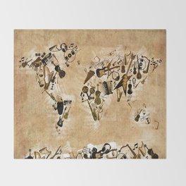 world map music 2 Throw Blanket