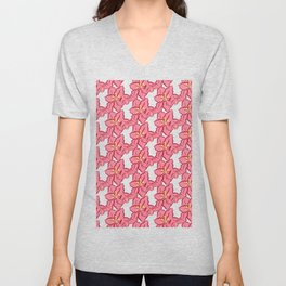 Poinsettia pattern - pink/crowd Unisex V-Neck