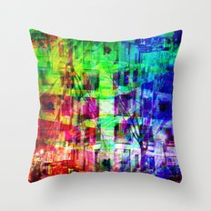 Across the street crossing in a myriad of manners. [RGB] Throw Pillow