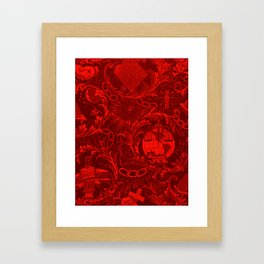 Red IOOF Woven Symbolism Tapestry Framed Art Print