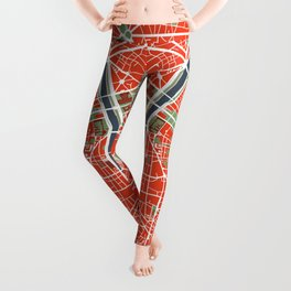 Paris city map classic Leggings