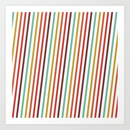 Pink Red Purple Blue Yellow Candy Stripes Linear Pattern Art Print