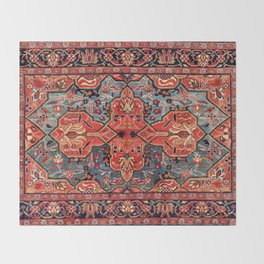 Kashan Poshti Central Persian Rug Print Throw Blanket