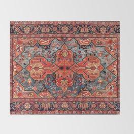 Kashan Poshti Central Persian Rug Print Throw Blanket