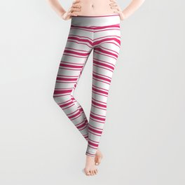 Bright Pink Peacock Mattress Ticking Wide Striped Pattern - Fall Fashion 2018 Leggings