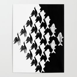 Escher - Sky and Water Poster